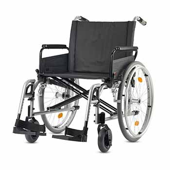 Manual extra-wide XL wheelchair, available for hire for your leisure or professional travel in Paris and everywhere in France