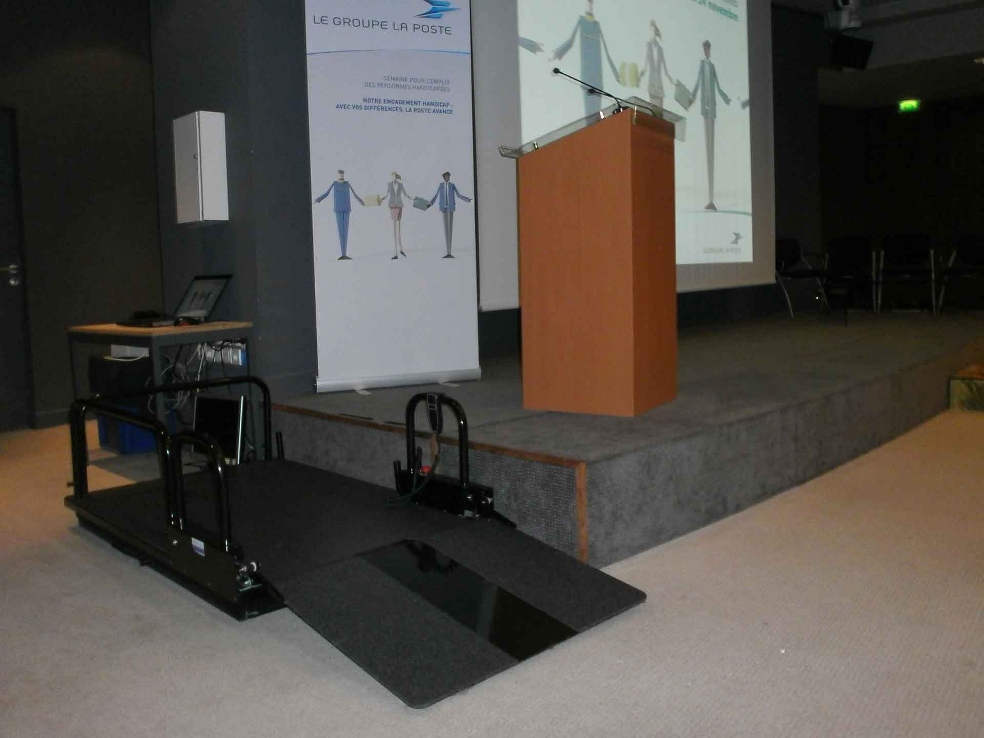 Hire an electric elevator platform for the disabled and the handicapped, ideal for events, trade shows, seminars, shows.