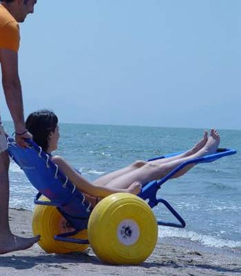 Bath (beach, swimming pool) access wheelchair hire for the disabled and handicapped